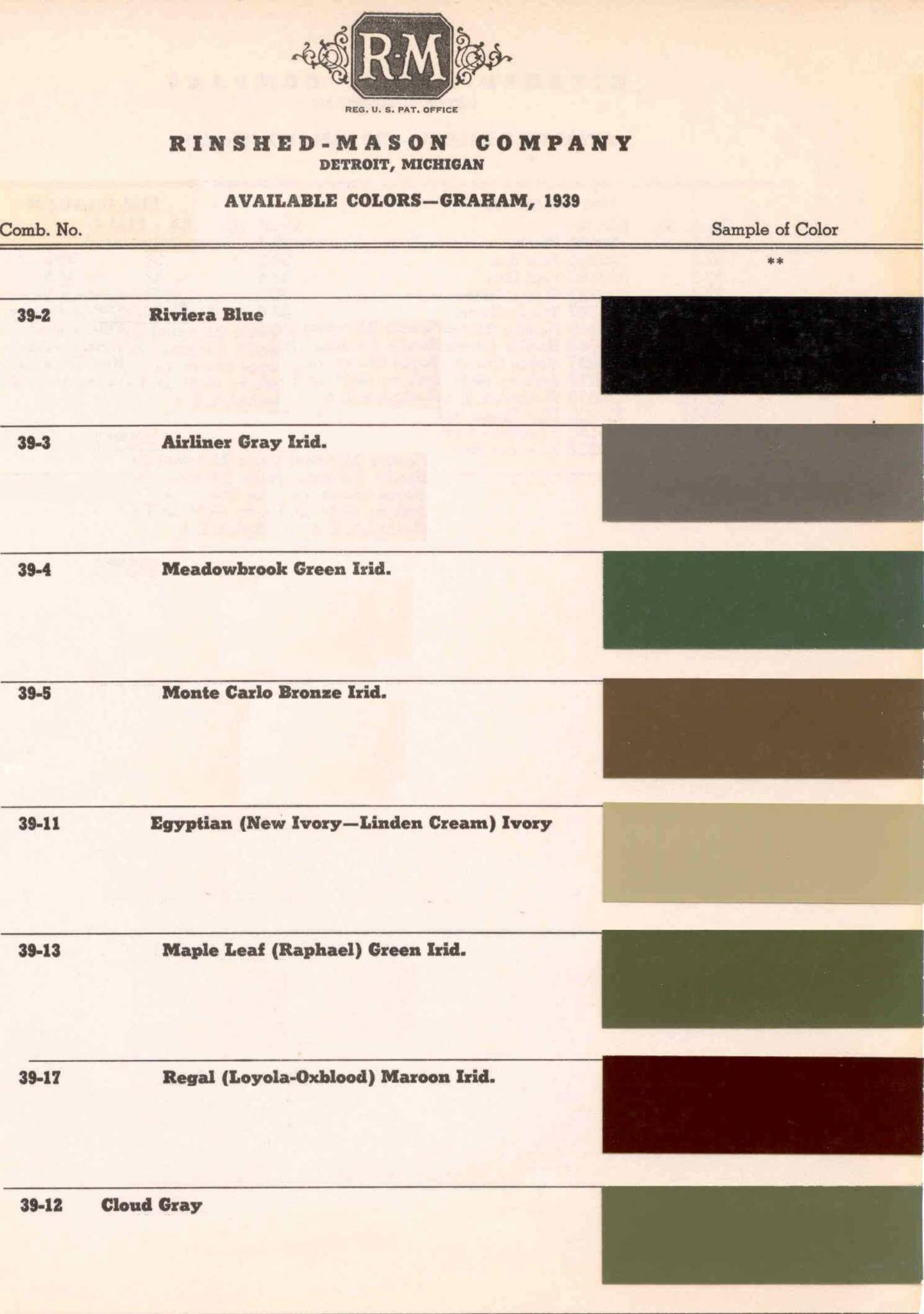 Paint Chart and Color Codes