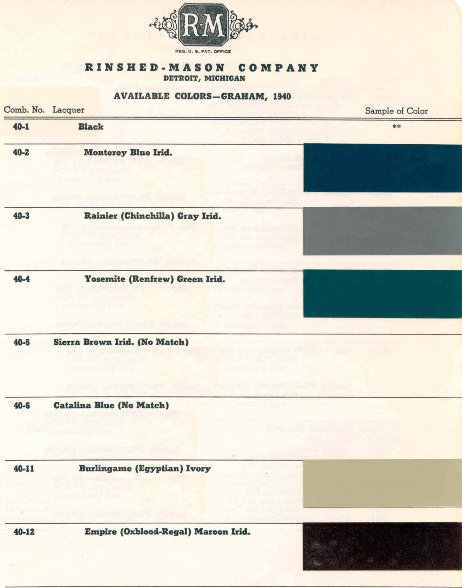 Paint Codes and Color Chart