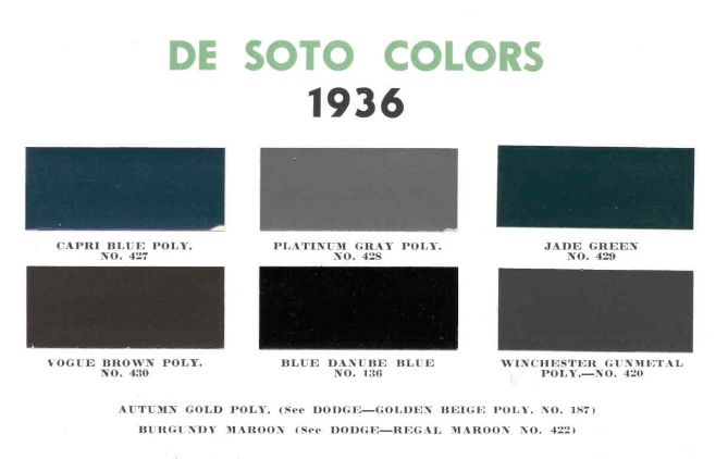 1936 Basf De Soto Color Chart