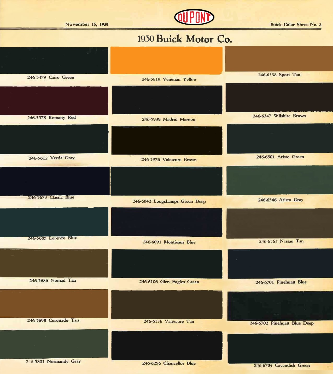 Paint chart for 1930's Buick exterior colors