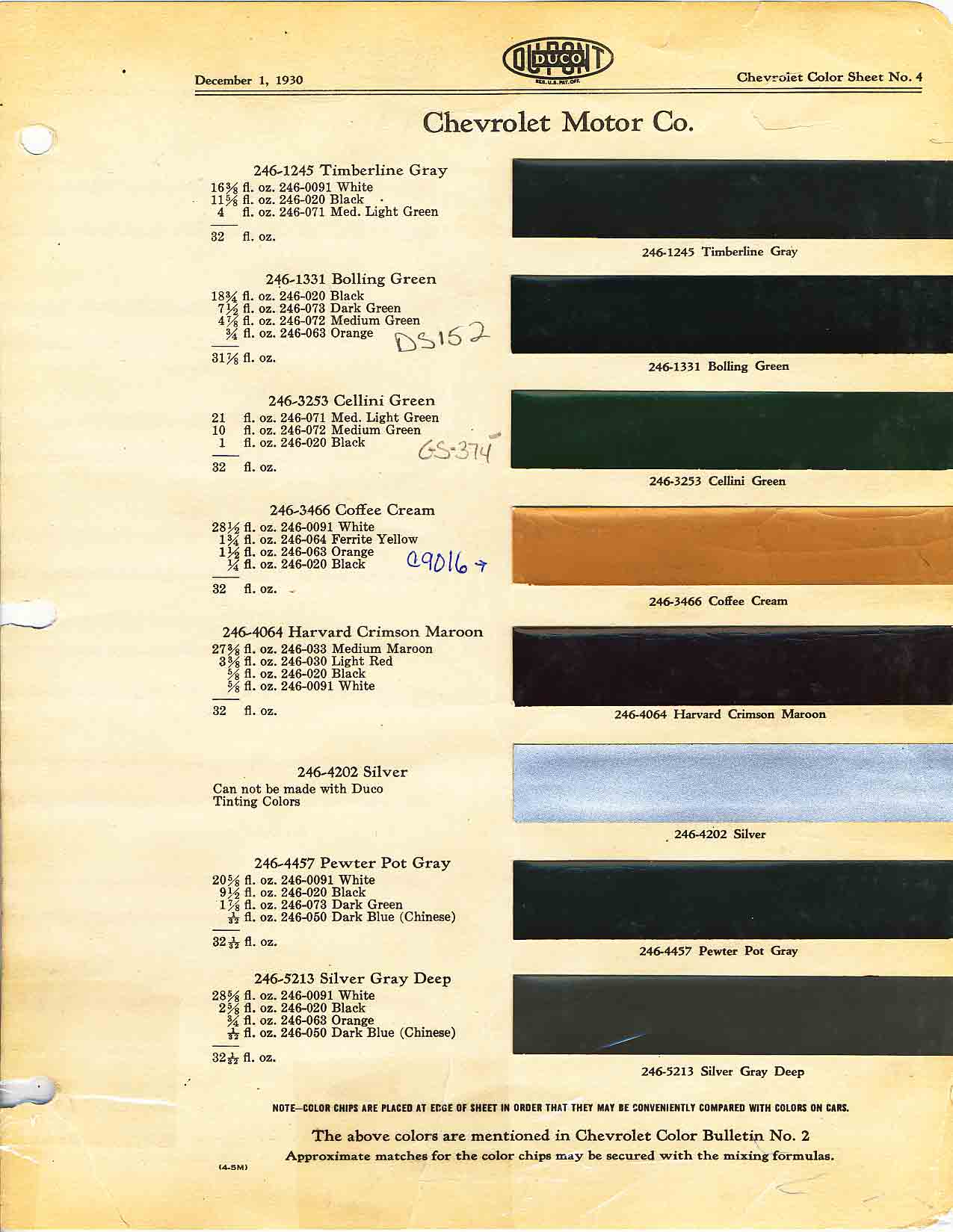 Paint Codes and Color Swatches used by Chevrolet on Vehicles