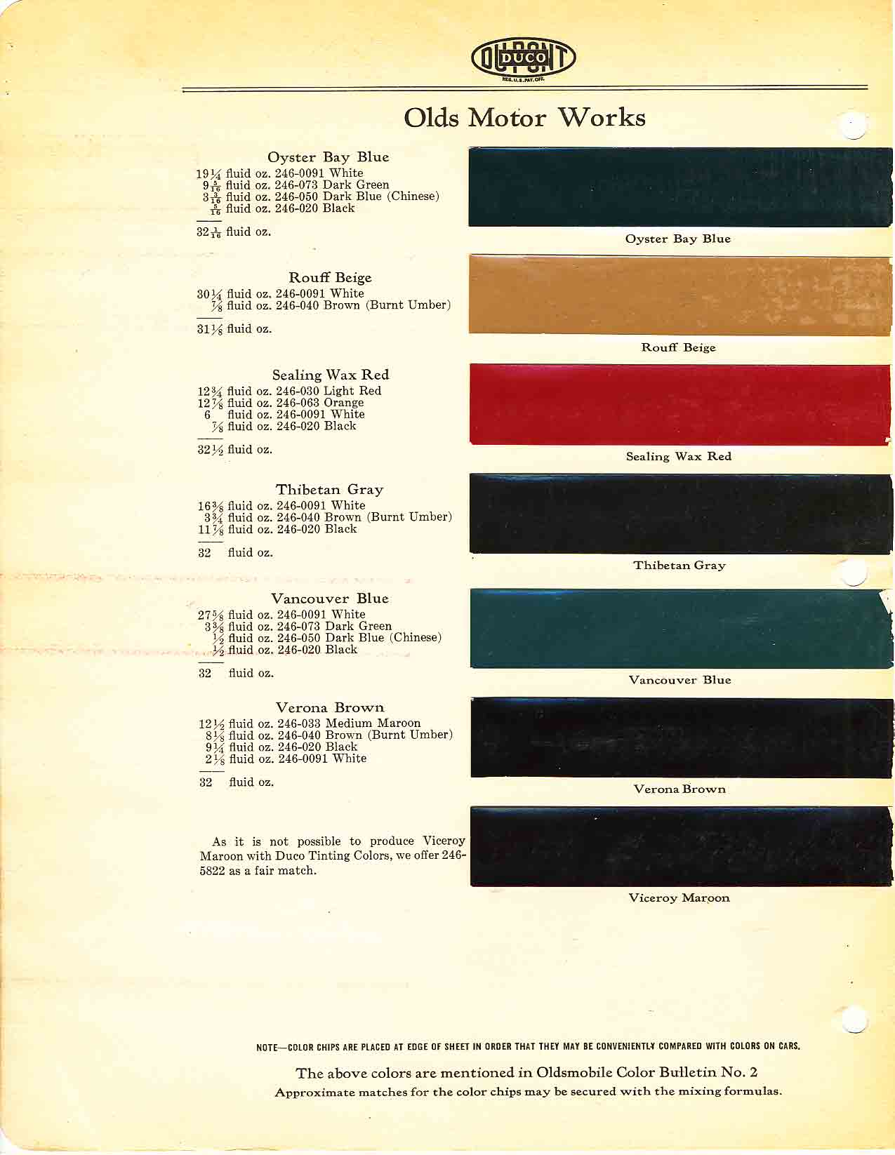Oldsmobile Paint and Color Code Chart
