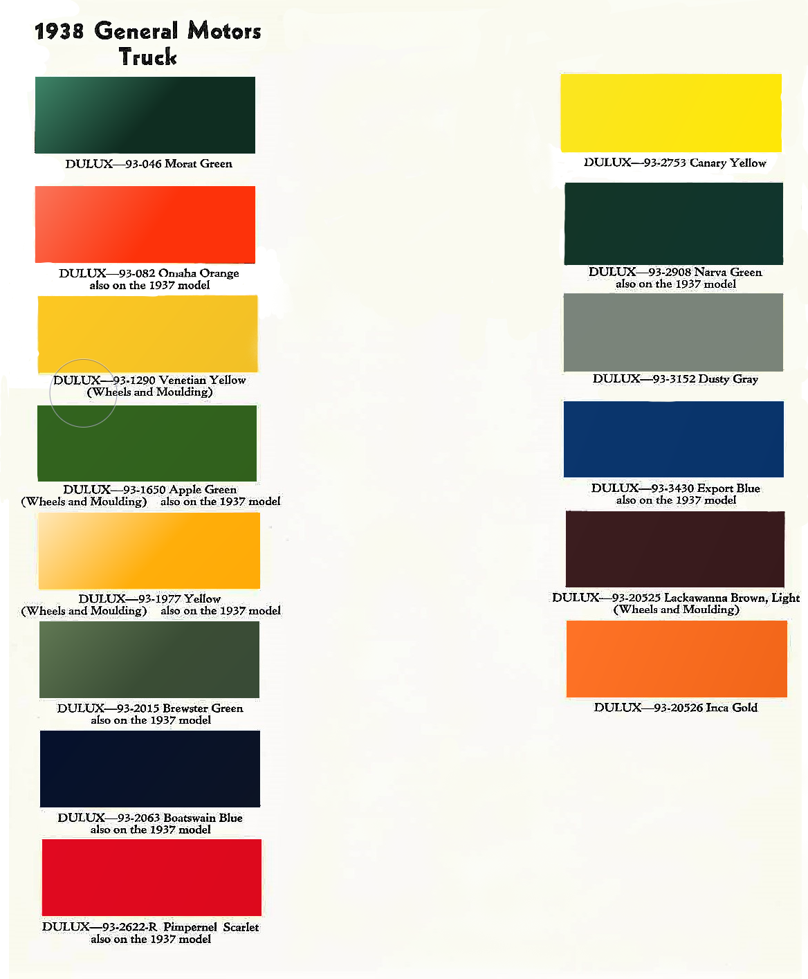 Colors used on 1938 General Motors trucks