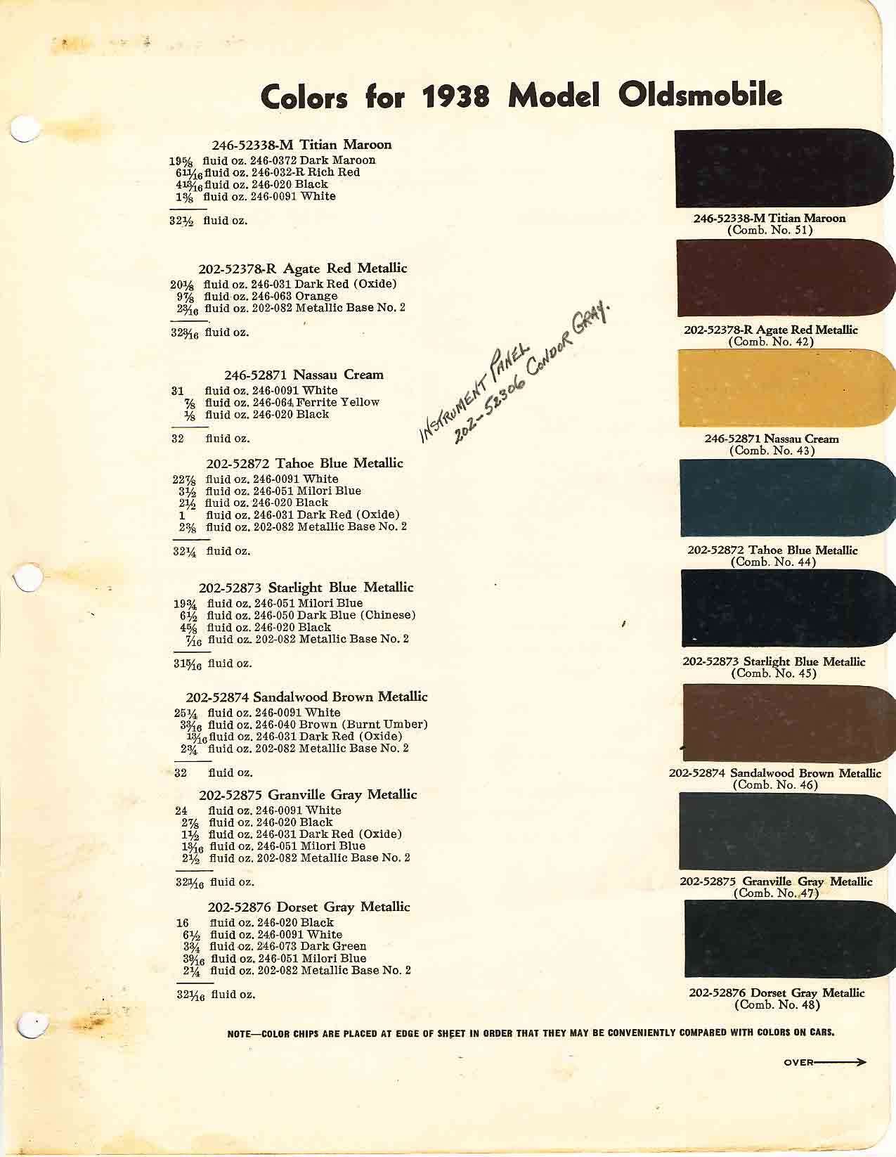 Paint Colors and Paint Codes used on the 1938 Oldsmobile