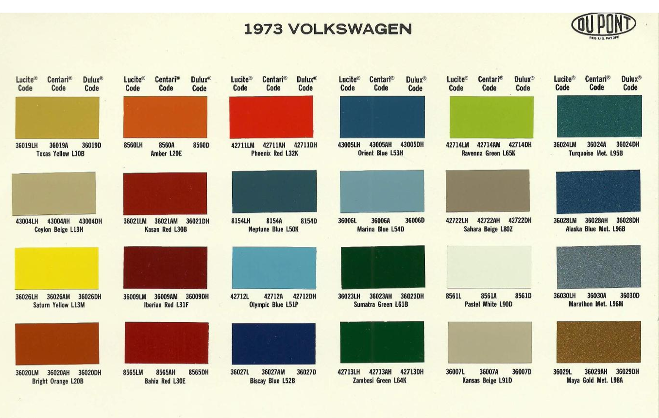 Volkswagen and Audi Paint Color Chart