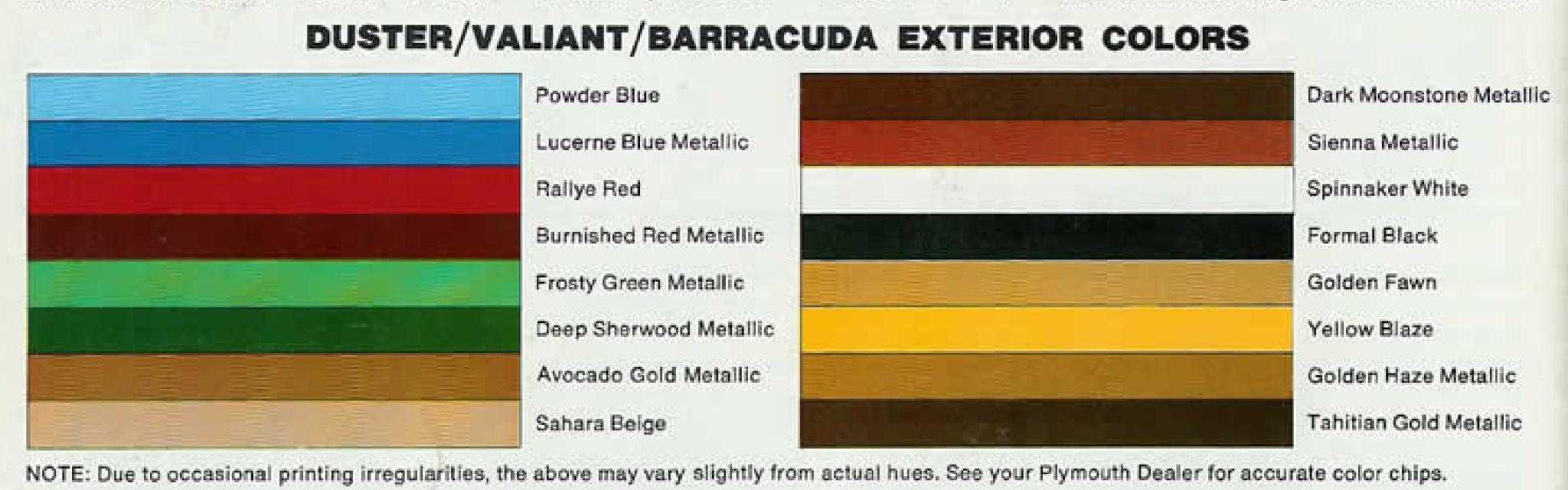 1974 Exterior Colors for Plymouth vehicles