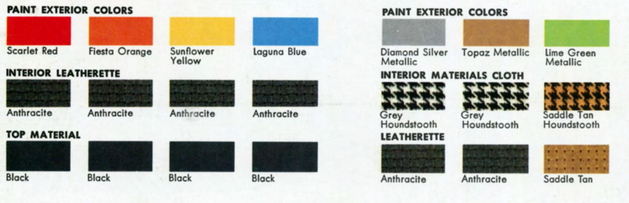 1976 interior and exterior colors for the volkswagen Beatle