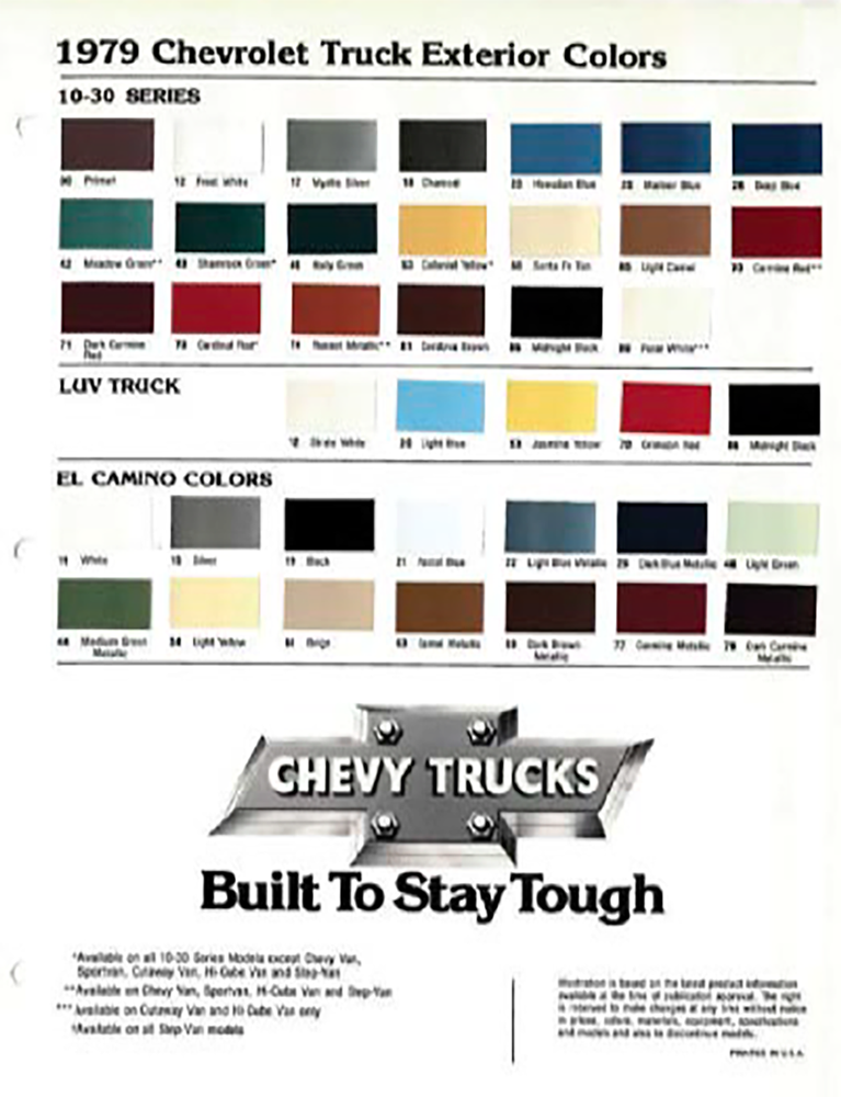 Paint Codes and Color Swatches used in 1979 by Chevrolet