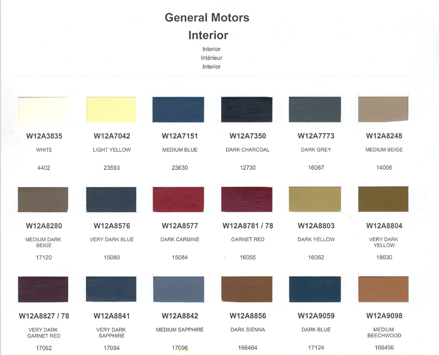 1990 gm interior colors all brands