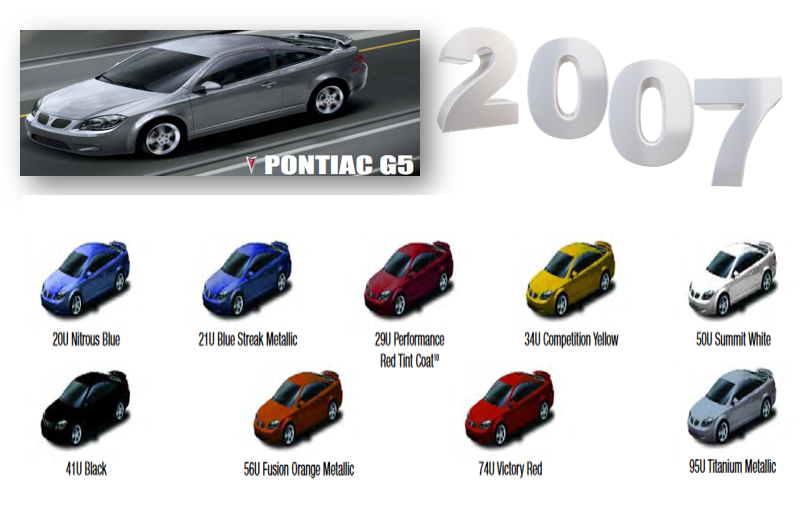 Exterior Color Codes used for the Pontic Vibe in 2007