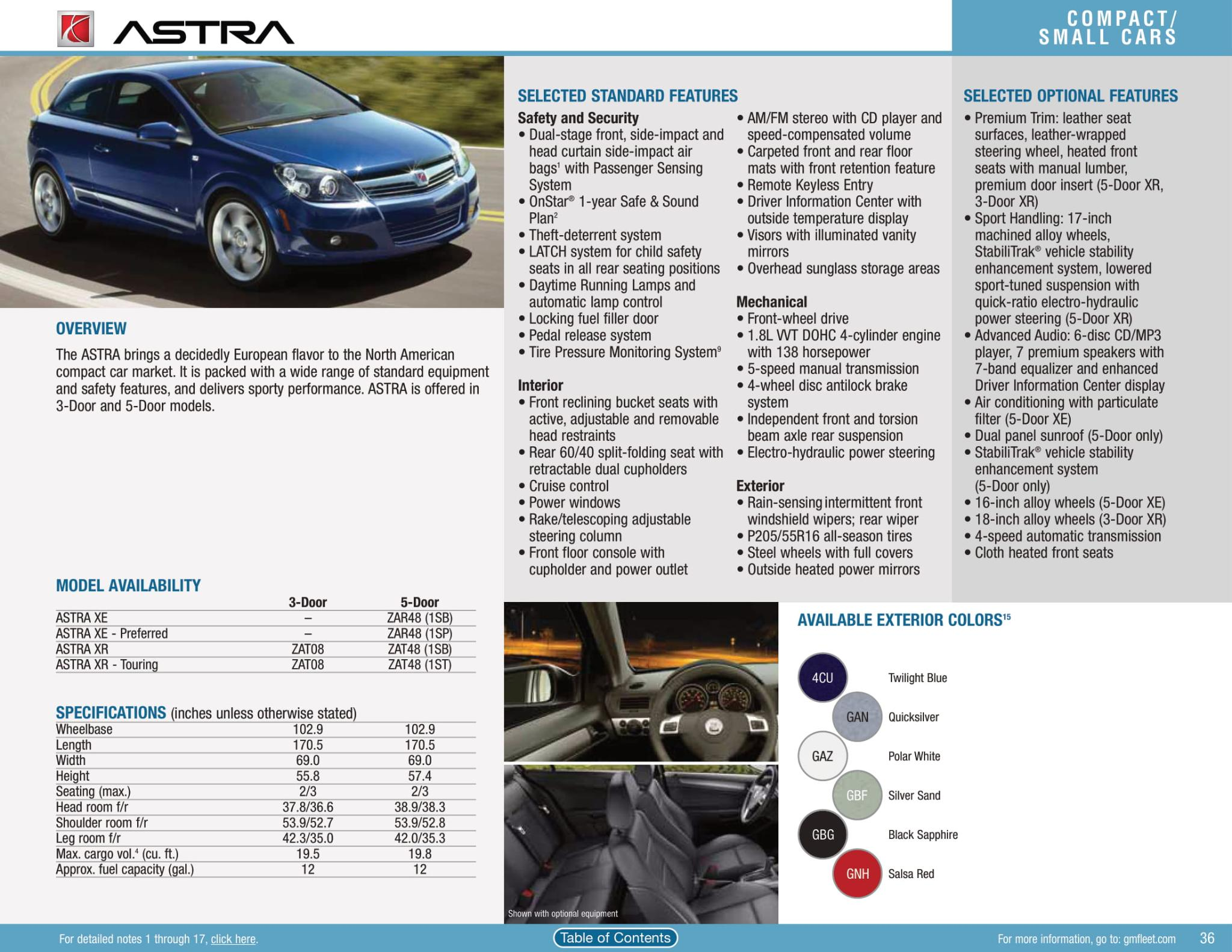 Exterior 2010 Color Options for the Saturn Astra