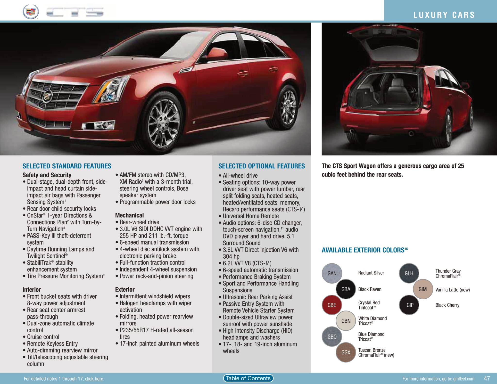 exterior colors options used on cts in 2010
