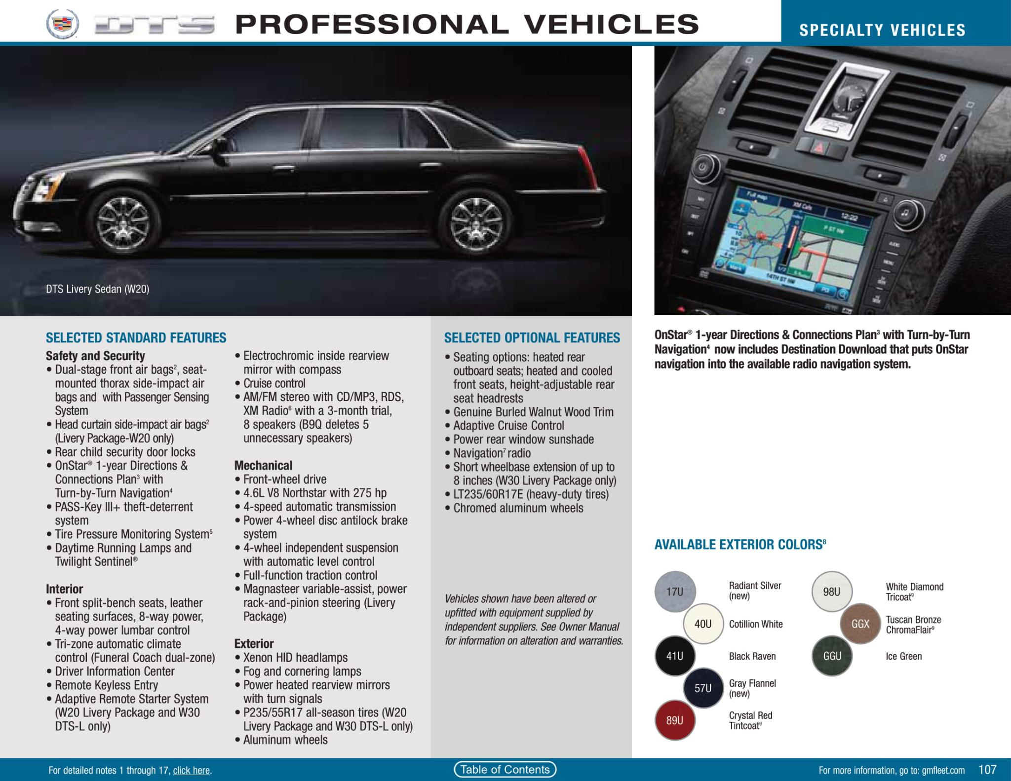 exterior colors options used on limo in 2010