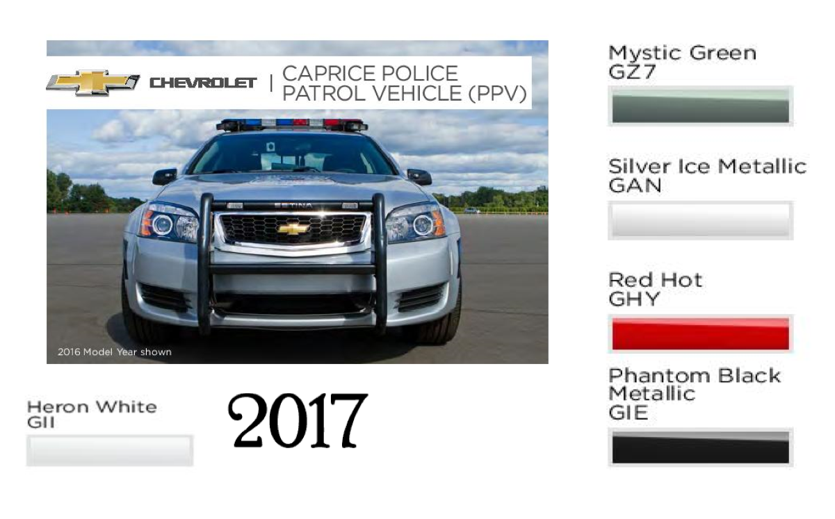 Colors used on Chevrolet Police Cars in 2017