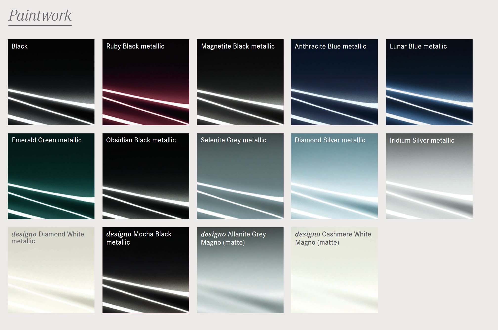 Paint Codes and Color Swatches used by Maybach in 2018