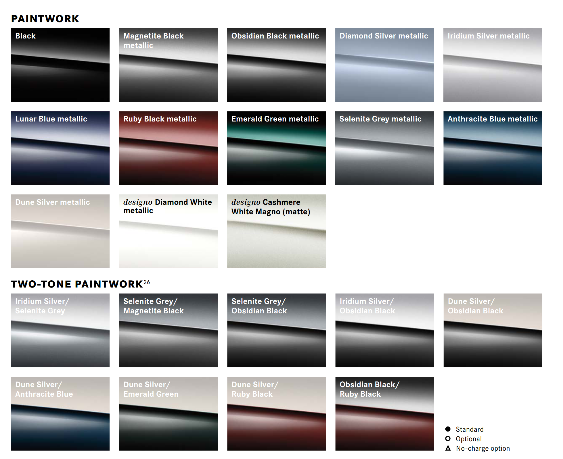 Paint Codes and Color Swatches used by Maybach in 2020