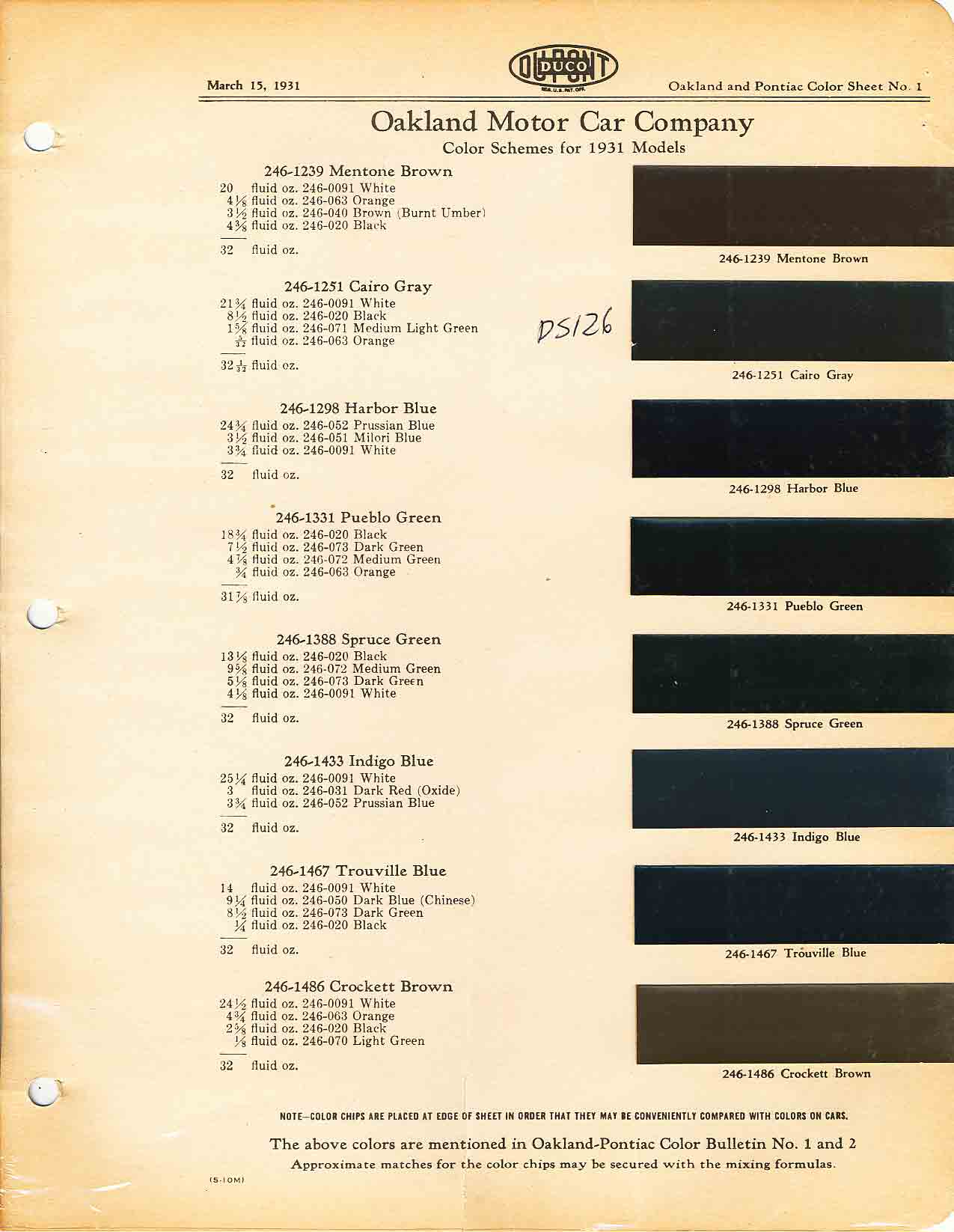 Color Code and Paint Color Chart for Pontiac for 1931