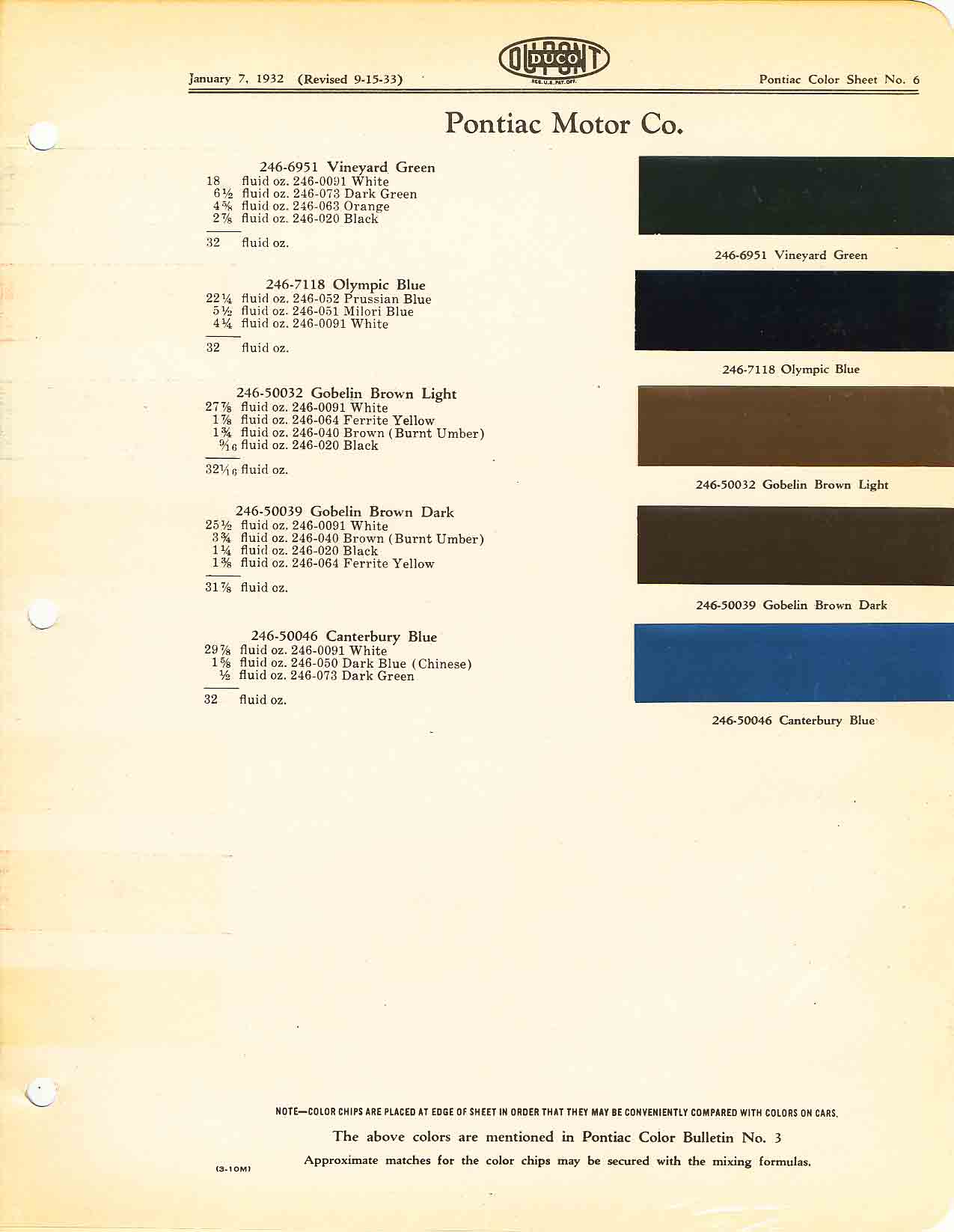 Color Code and Paint Color Chart for Pontiac for 1932