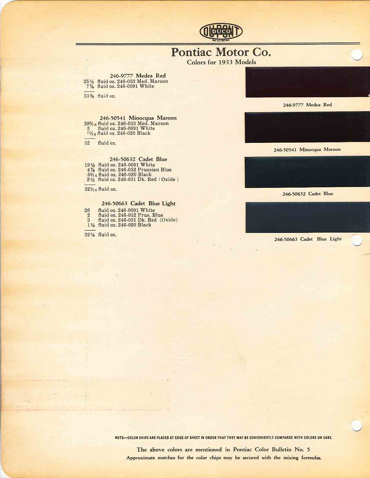 Color Code and Paint Color Chart for Pontiac for 1933