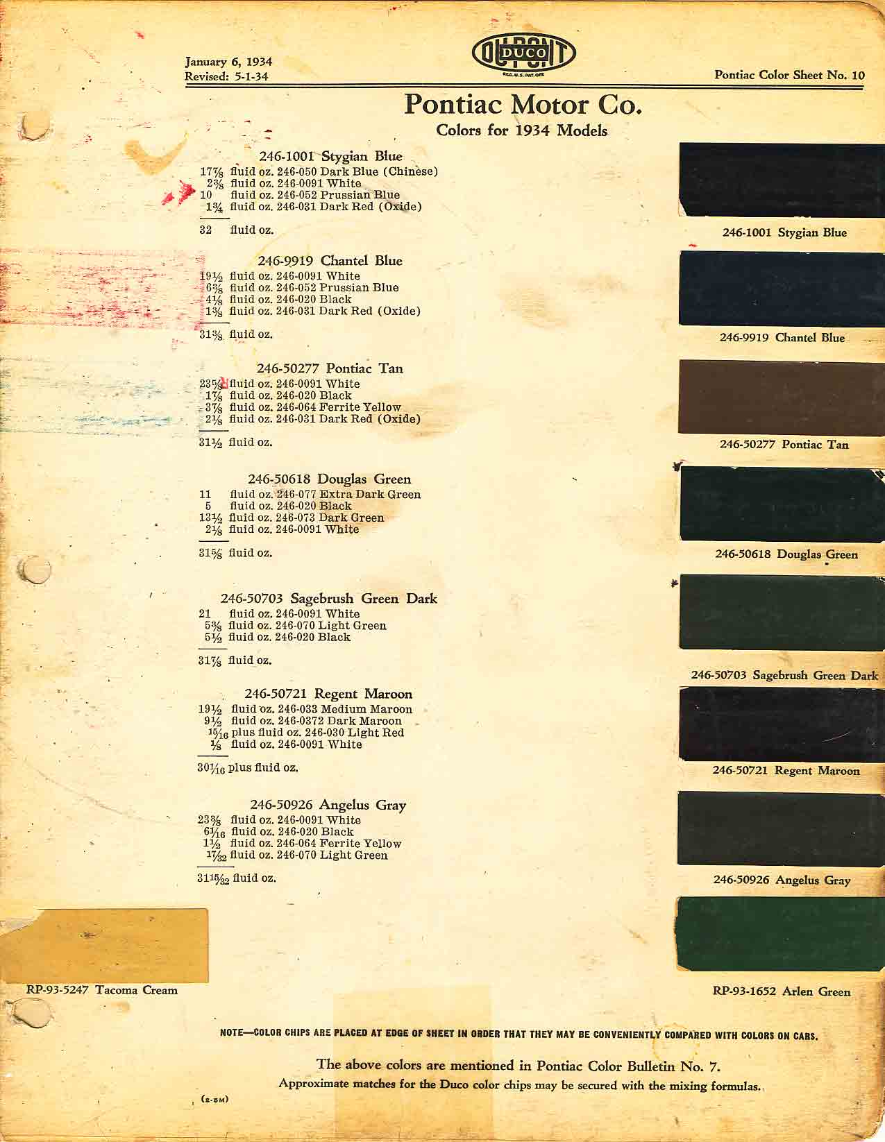 Color Code and Paint Color Chart for Pontiac for 1934