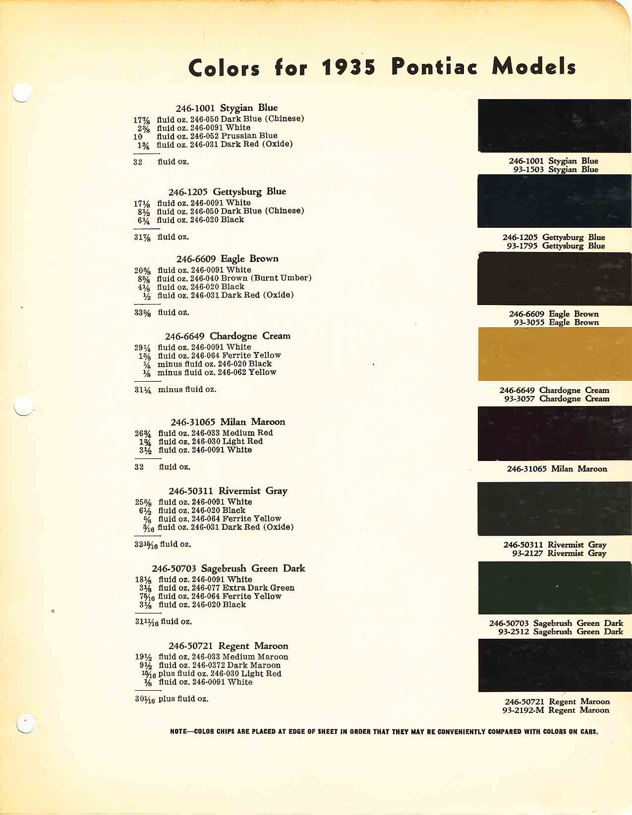Color Code and Paint Color Chart for Pontiac for 1935