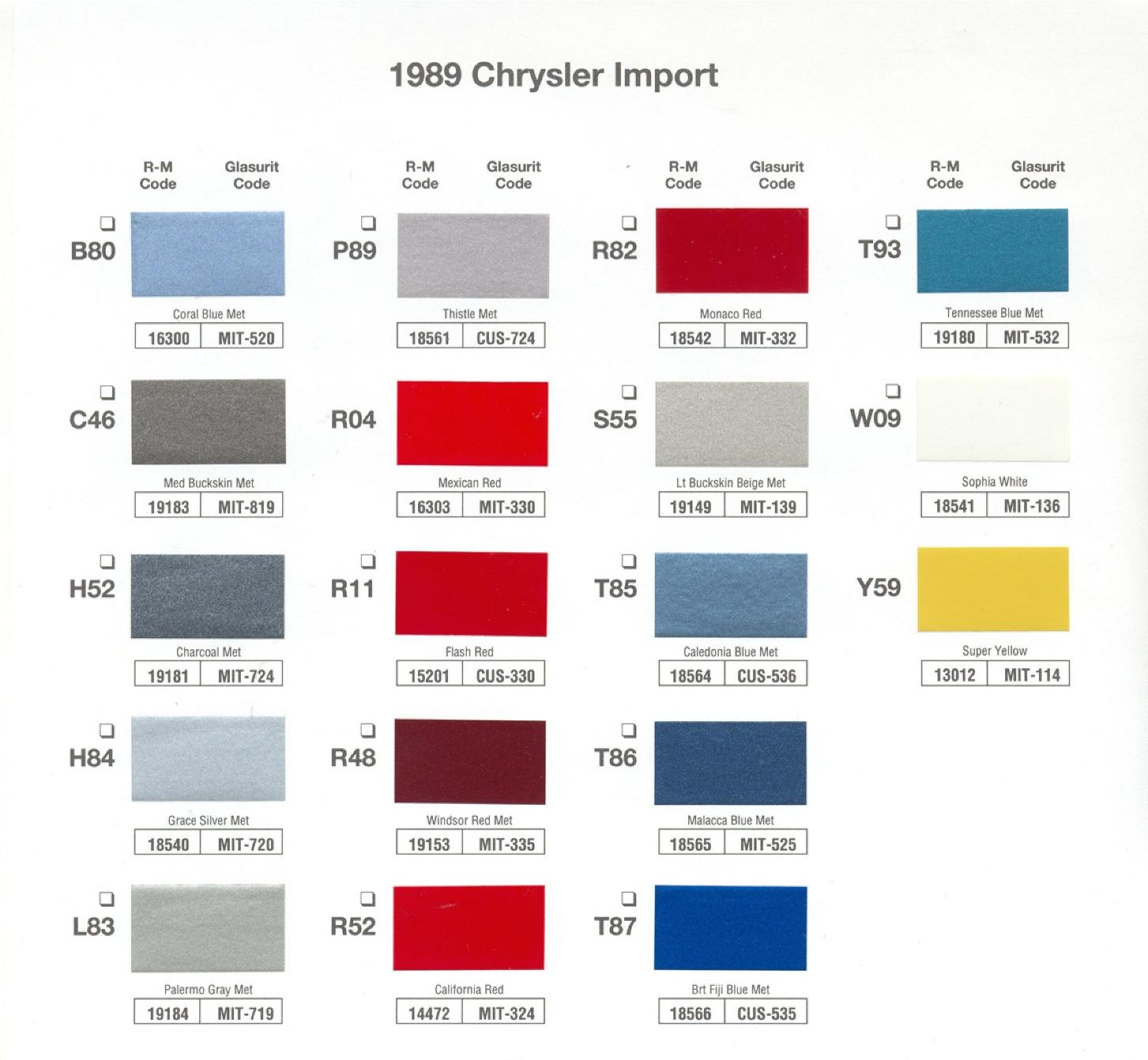 1989 Basf Chrysler Import Color Chart