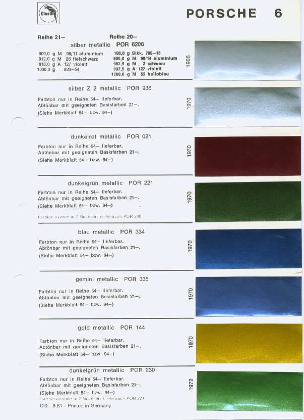 Porsche Exterior Paint Codes and Color Chart