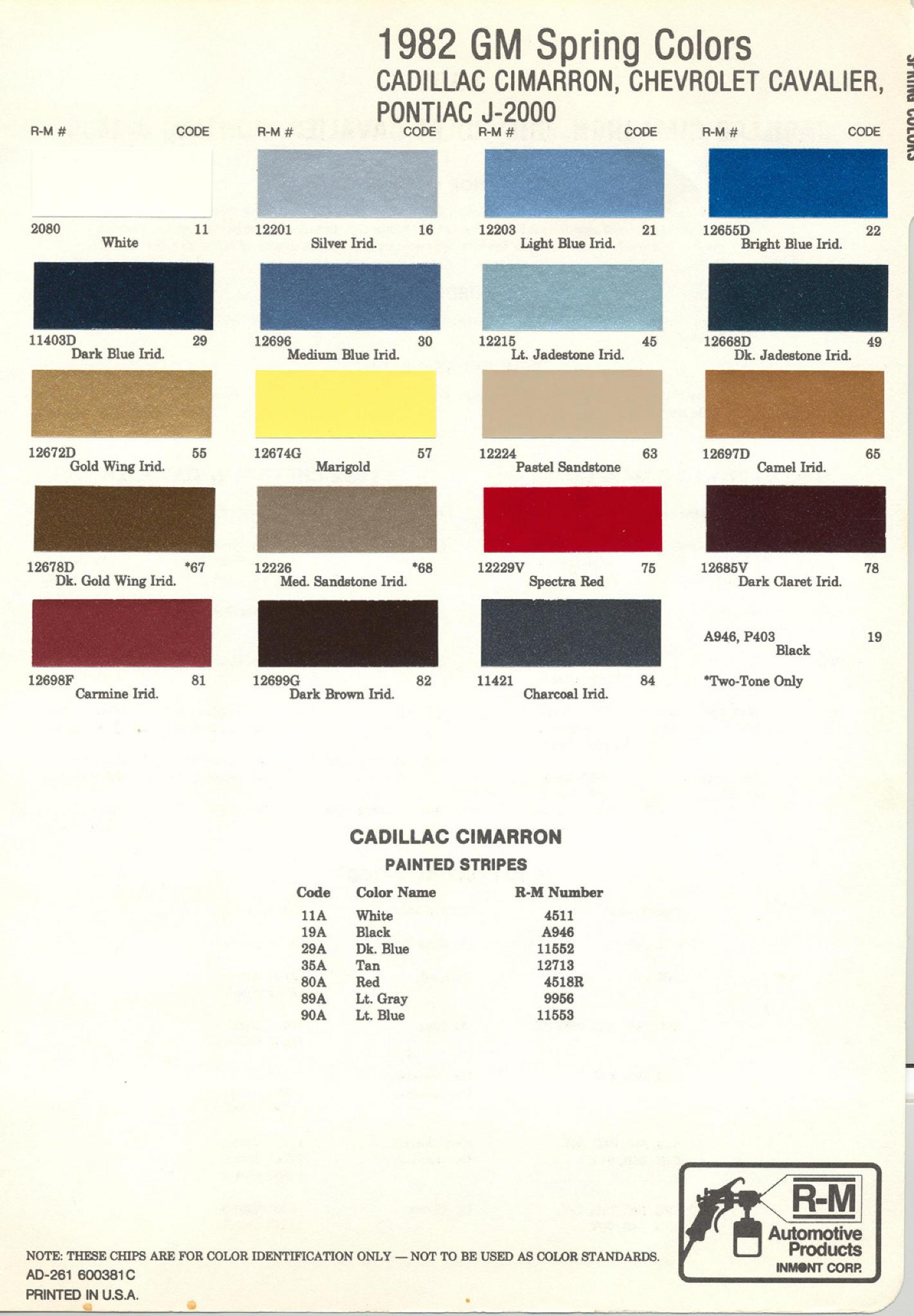 Colors and Color Codes used on General Motors in 1982