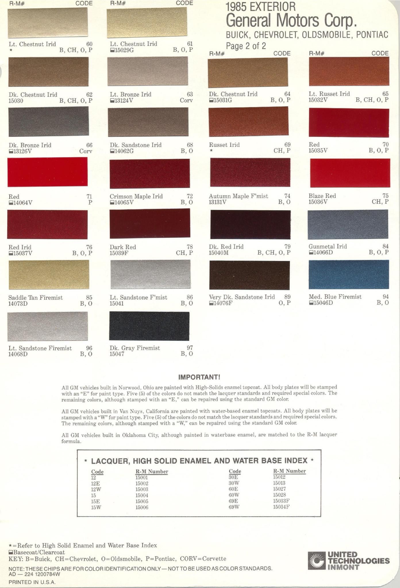 Colors and Color Codes used on General Motors in 1985