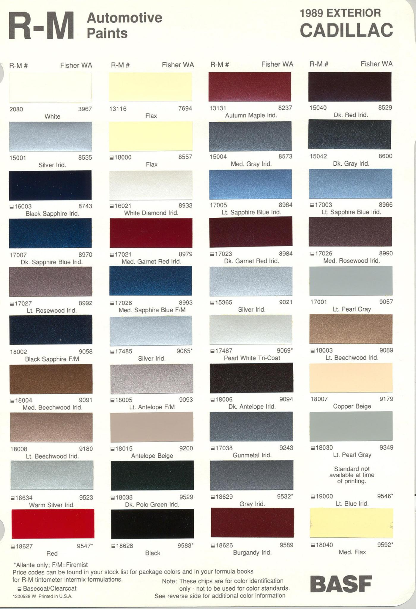 General Motors Paint (Color) Code Chart 1989
