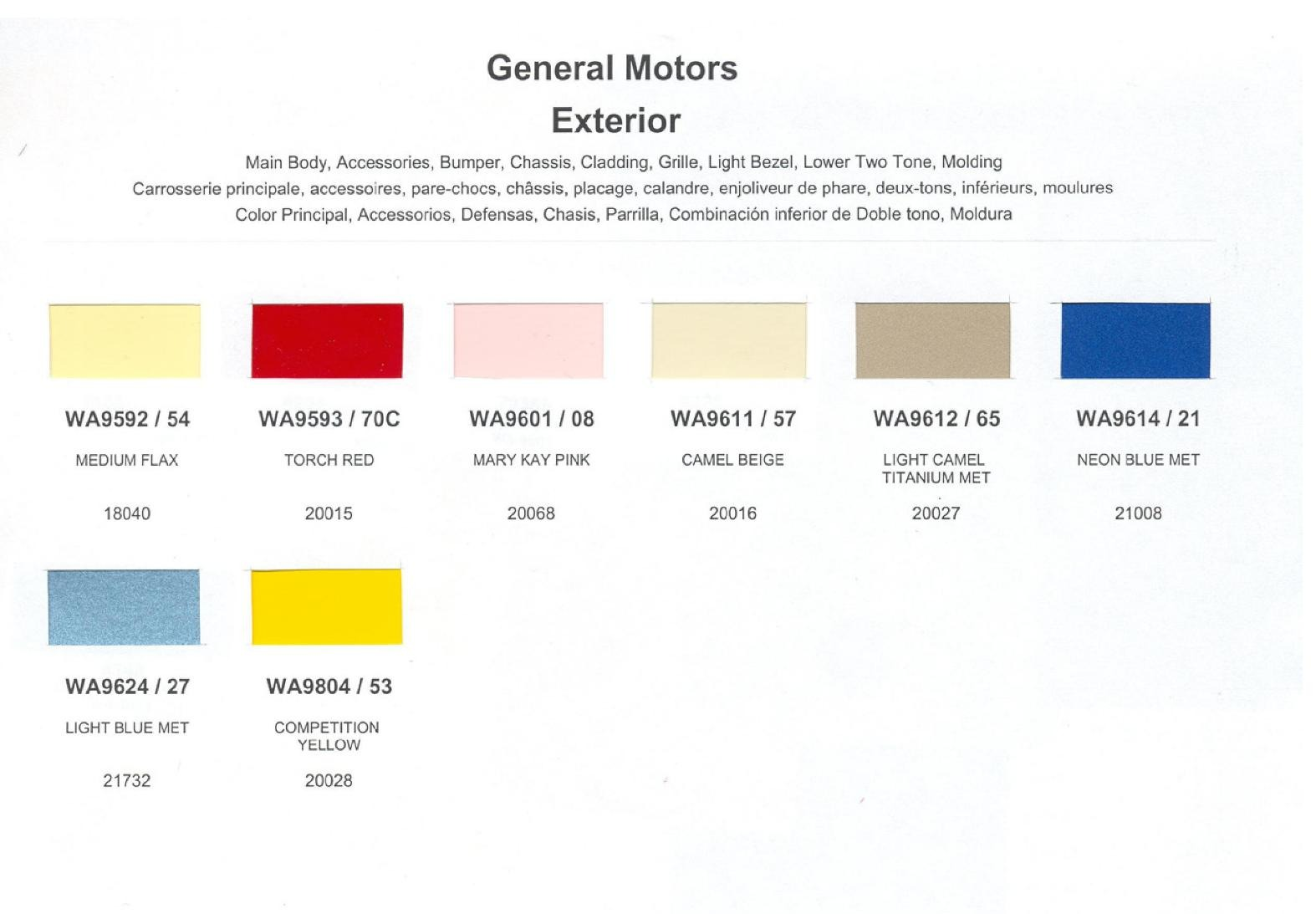 Colors and Color Codes used on General Motors in 1990