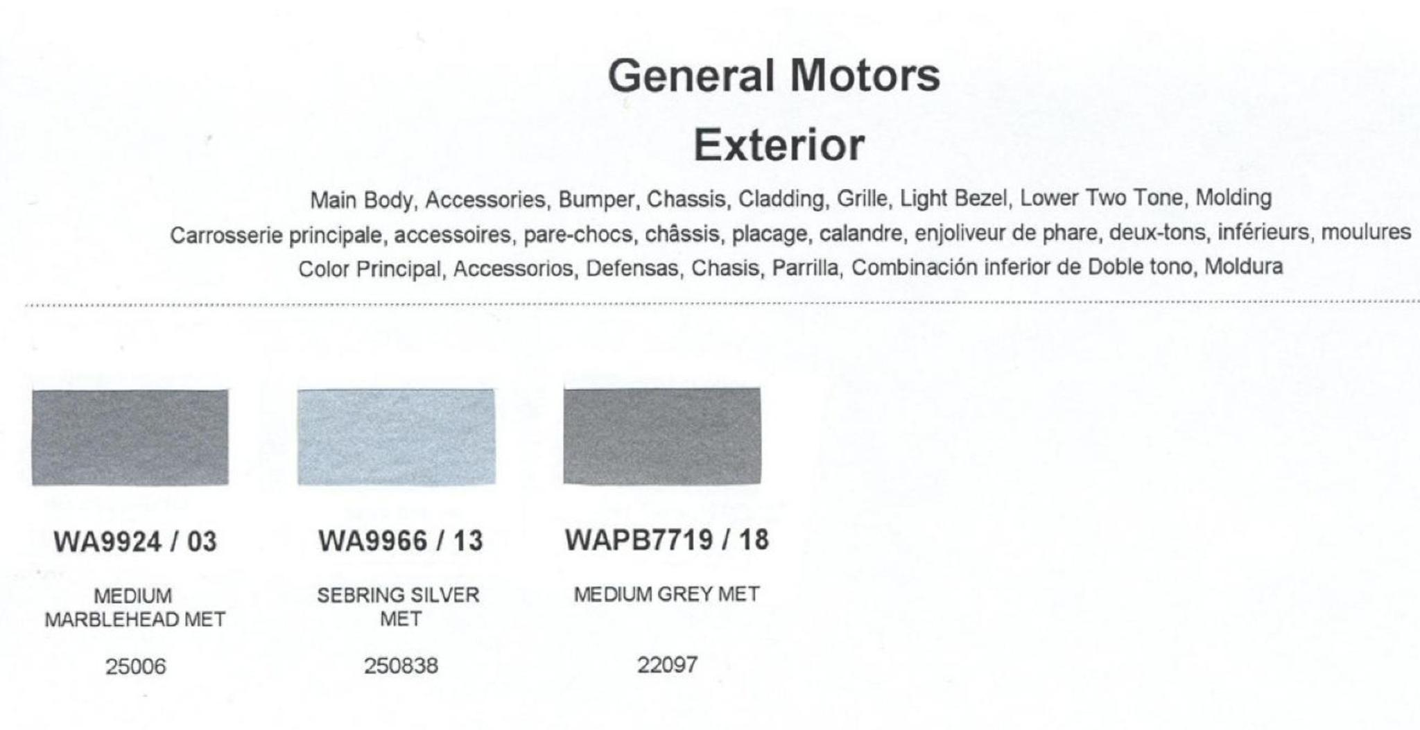 Colors and Color Codes used on General Motors in 1999