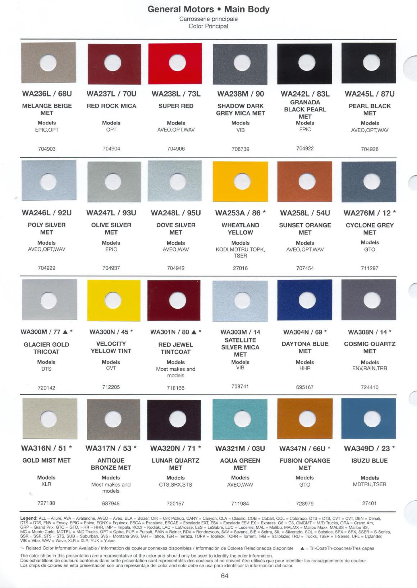 General Motors Paint (Color) Code Chart
