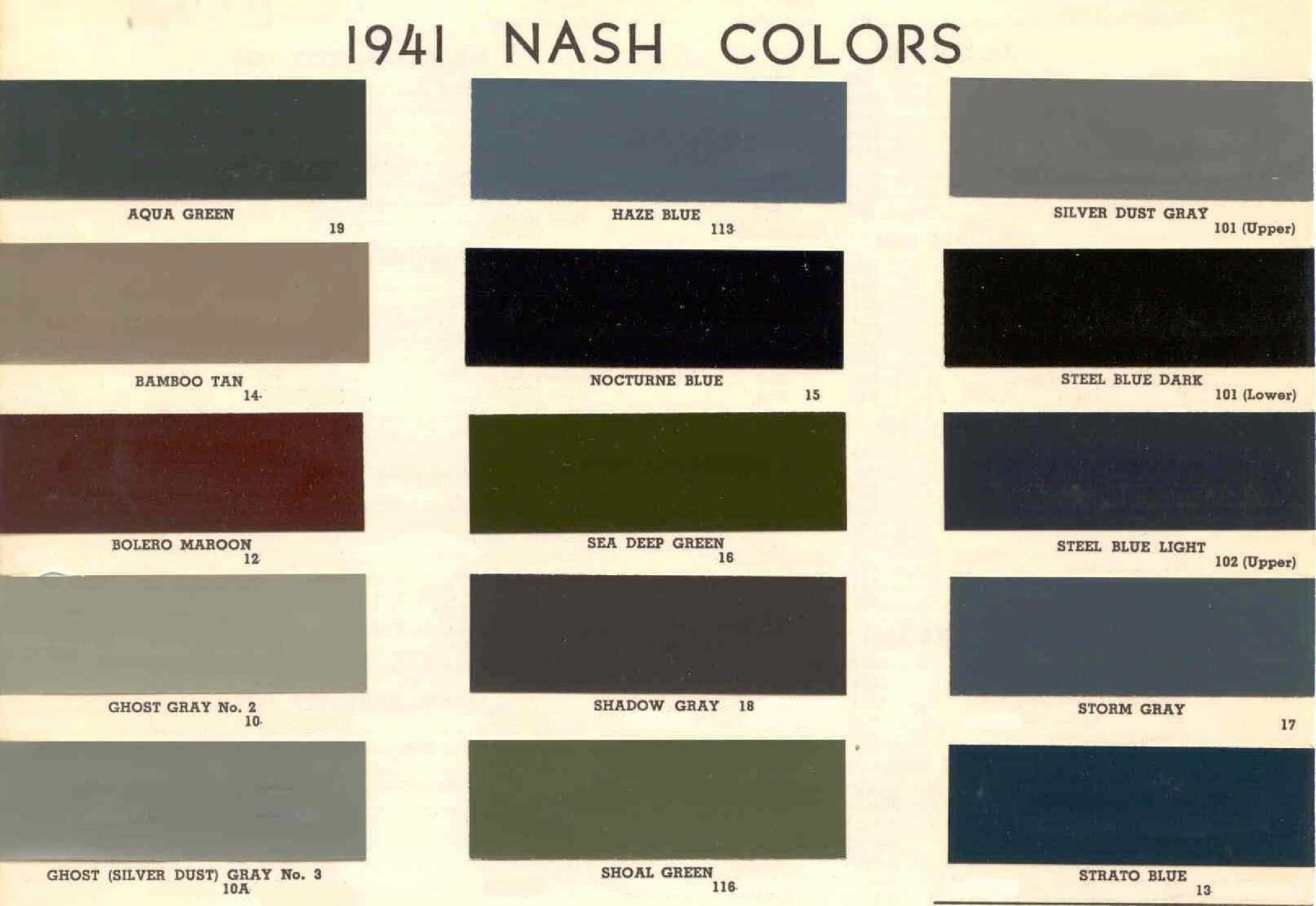 Colors and Codes used on Exterior Vehicles