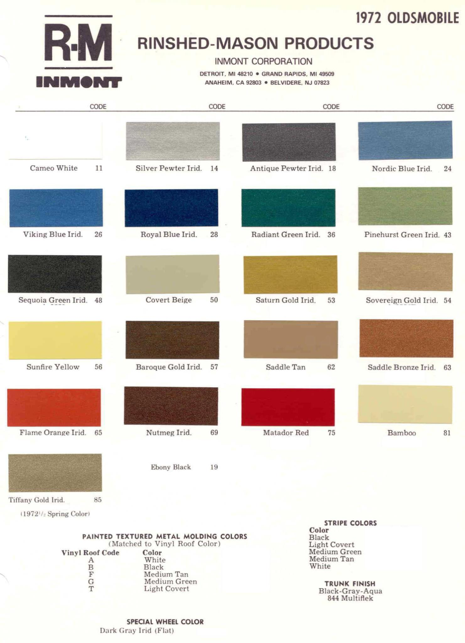 Oldsmobile Paint & Color Code Chart