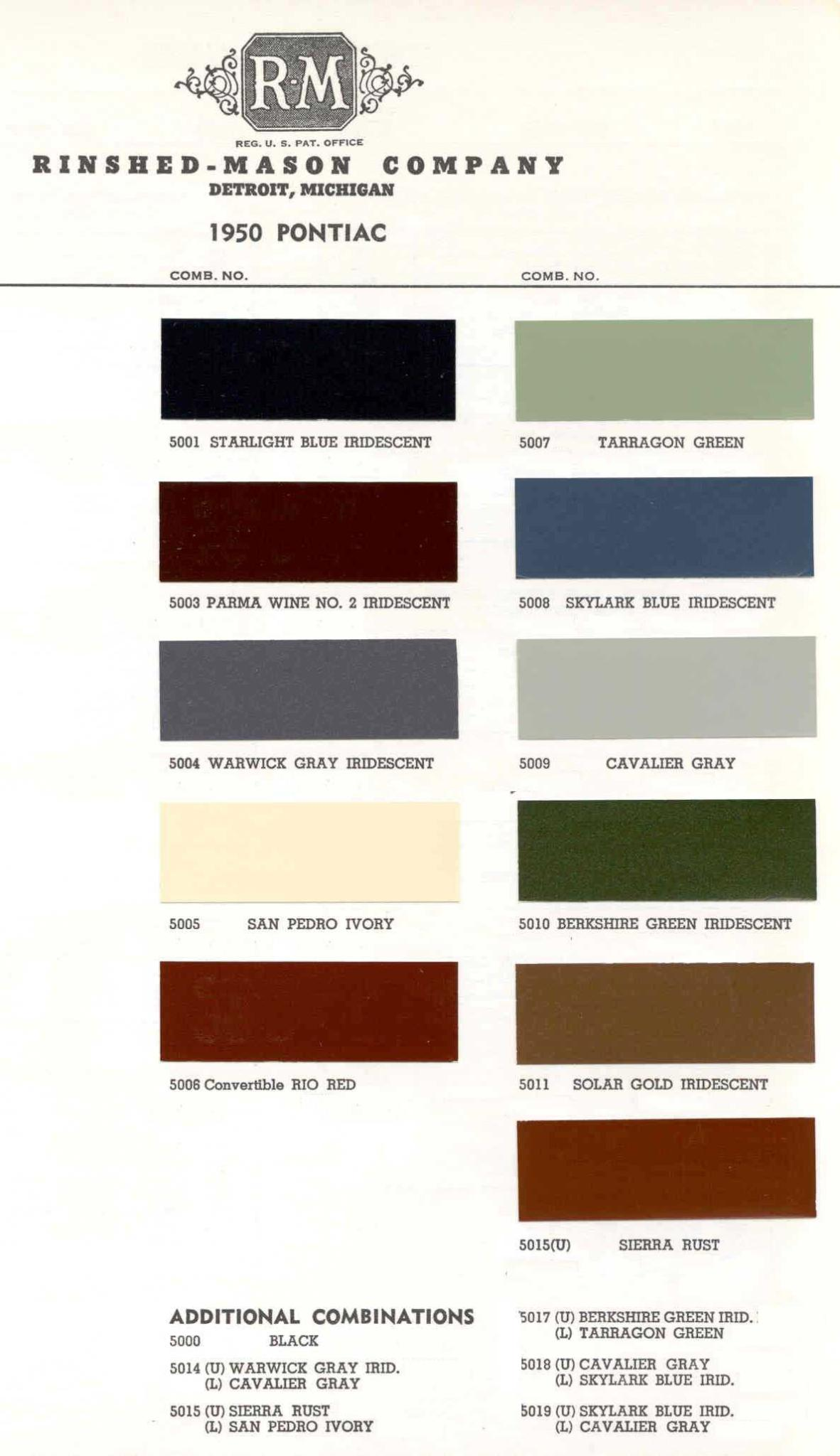Color Code and Paint Color Chart for Pontiac for 1950