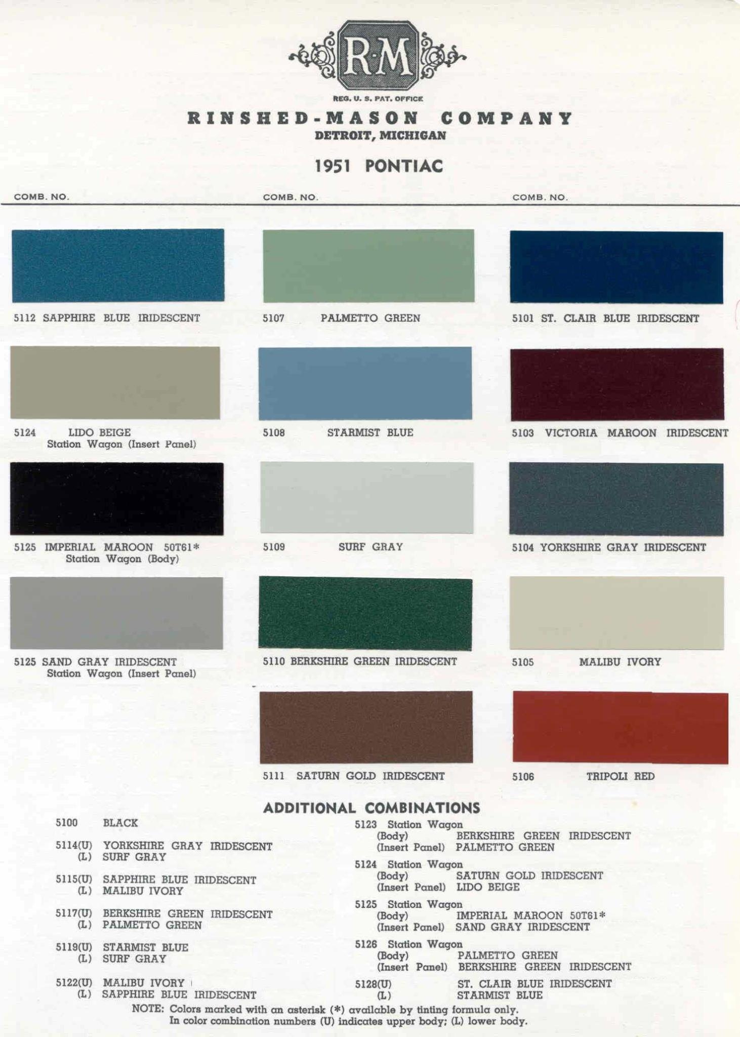 Color Code and Paint Color Chart for Pontiac for 1951