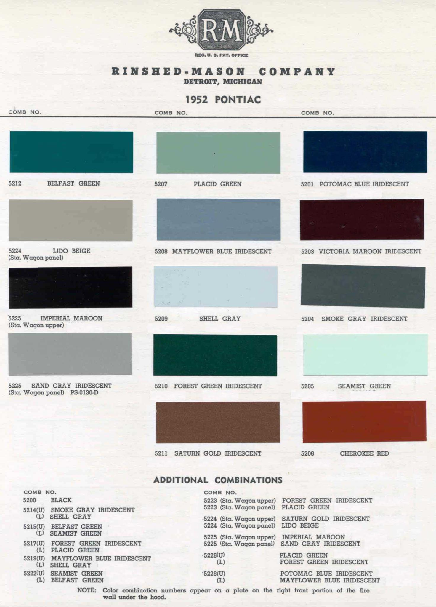 Color Code and Paint Color Chart for Pontiac for 1952