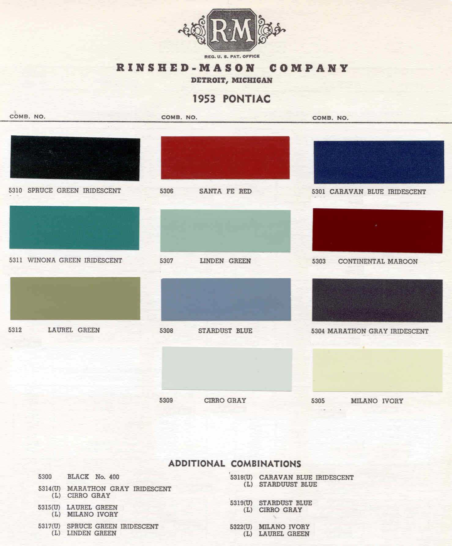 Color Code and Paint Color Chart for Pontiac for 1953