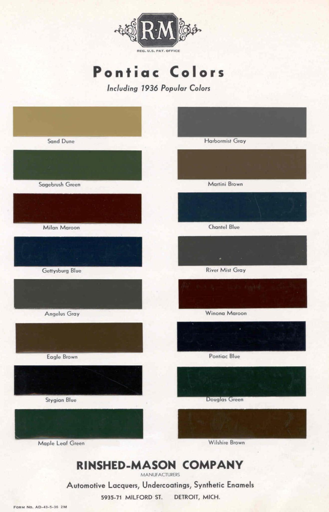 Color Code and Paint Color Chart for Pontiac for 1936