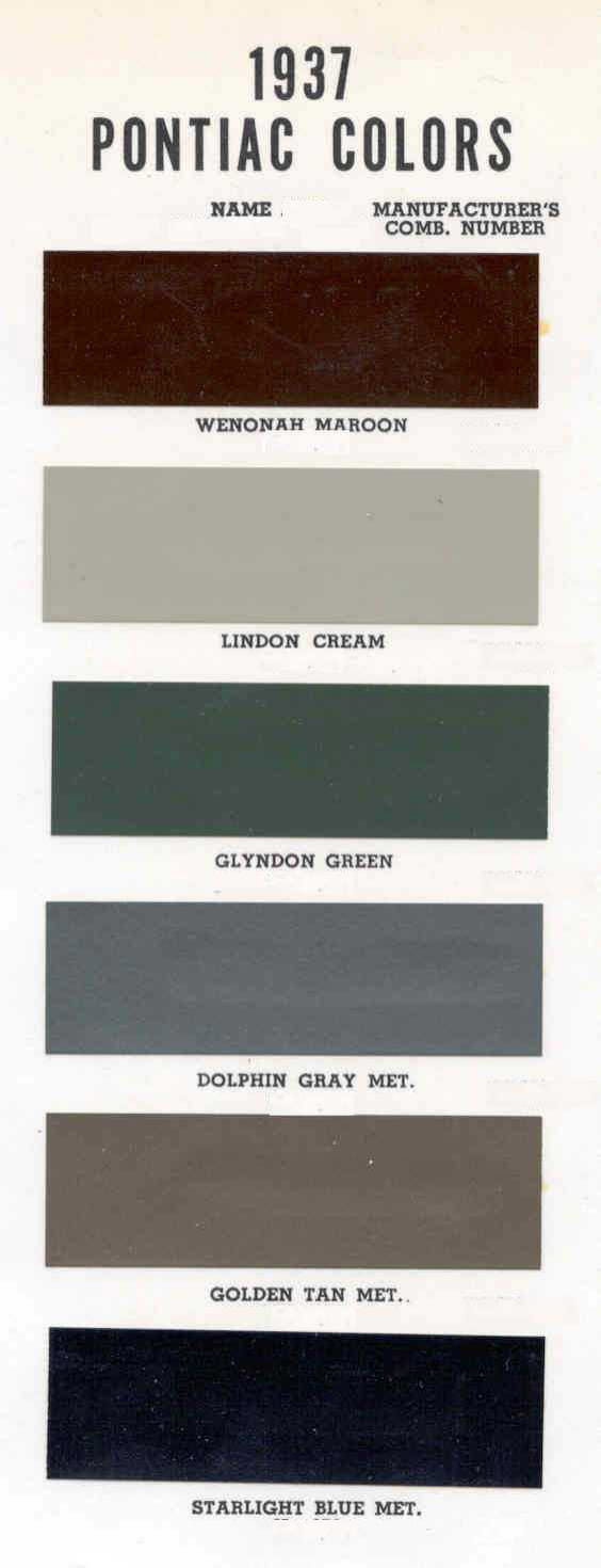 Color Code and Paint Color Chart for Pontiac for 1937