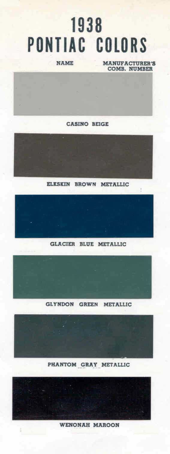Color Code and Paint Color Chart for Pontiac for 1939