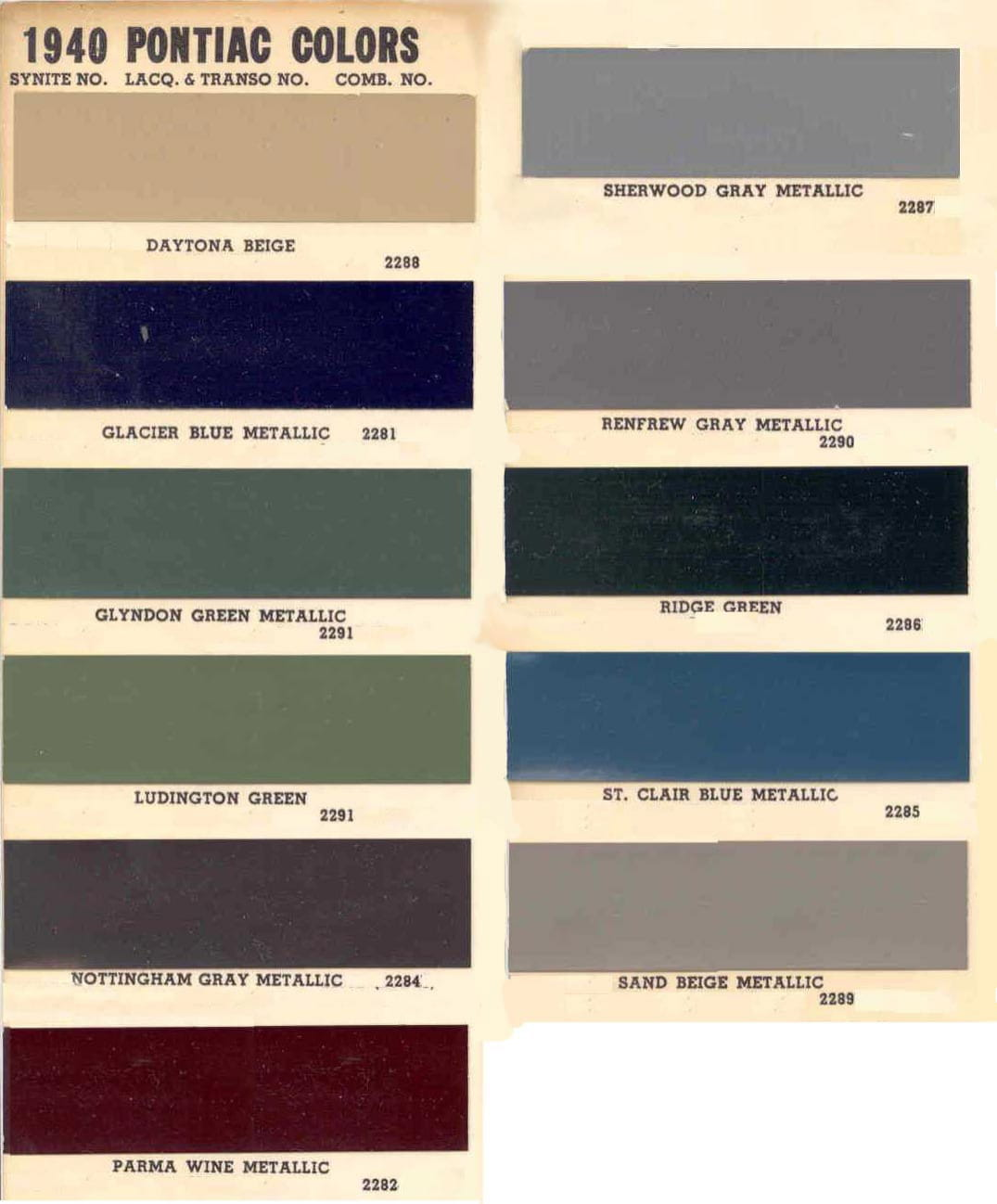 Color Code and Paint Color Chart for Pontiac for 1940