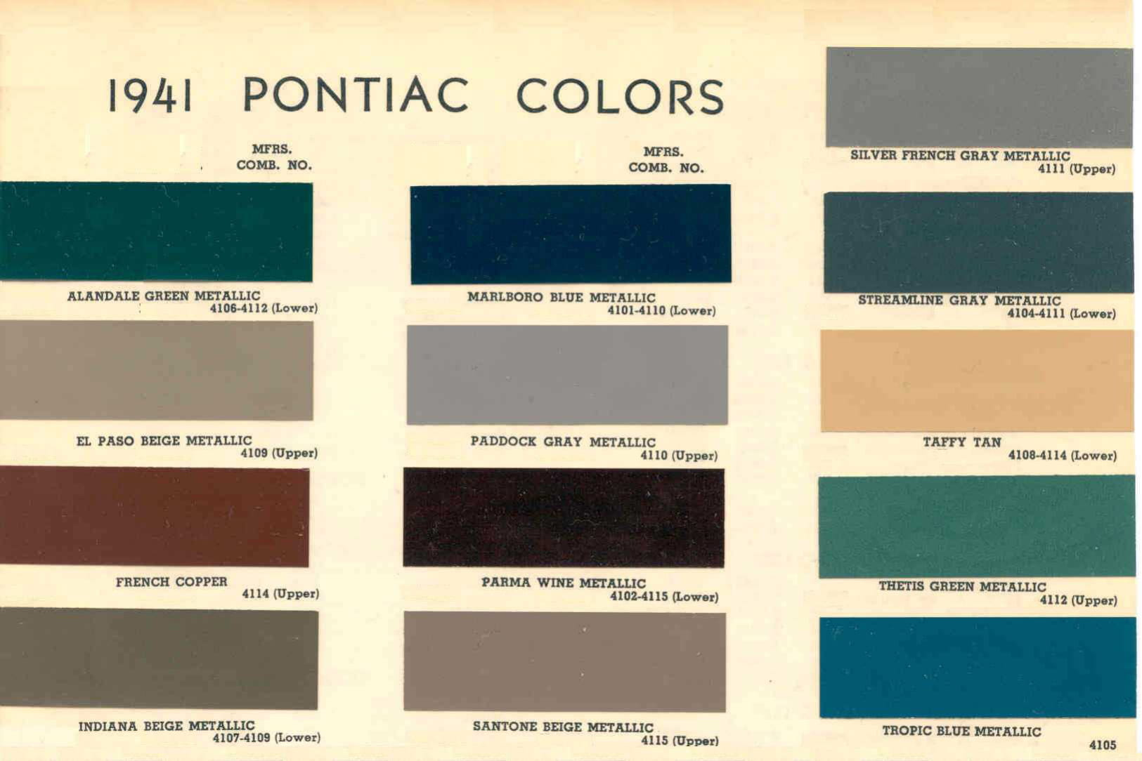 Color Code and Paint Color Chart for Pontiac for 1941