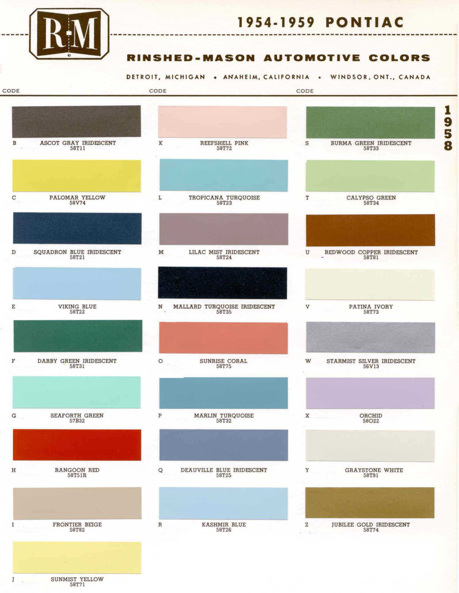 Color Code and Paint Color Chart for Pontiac for 1954-1959