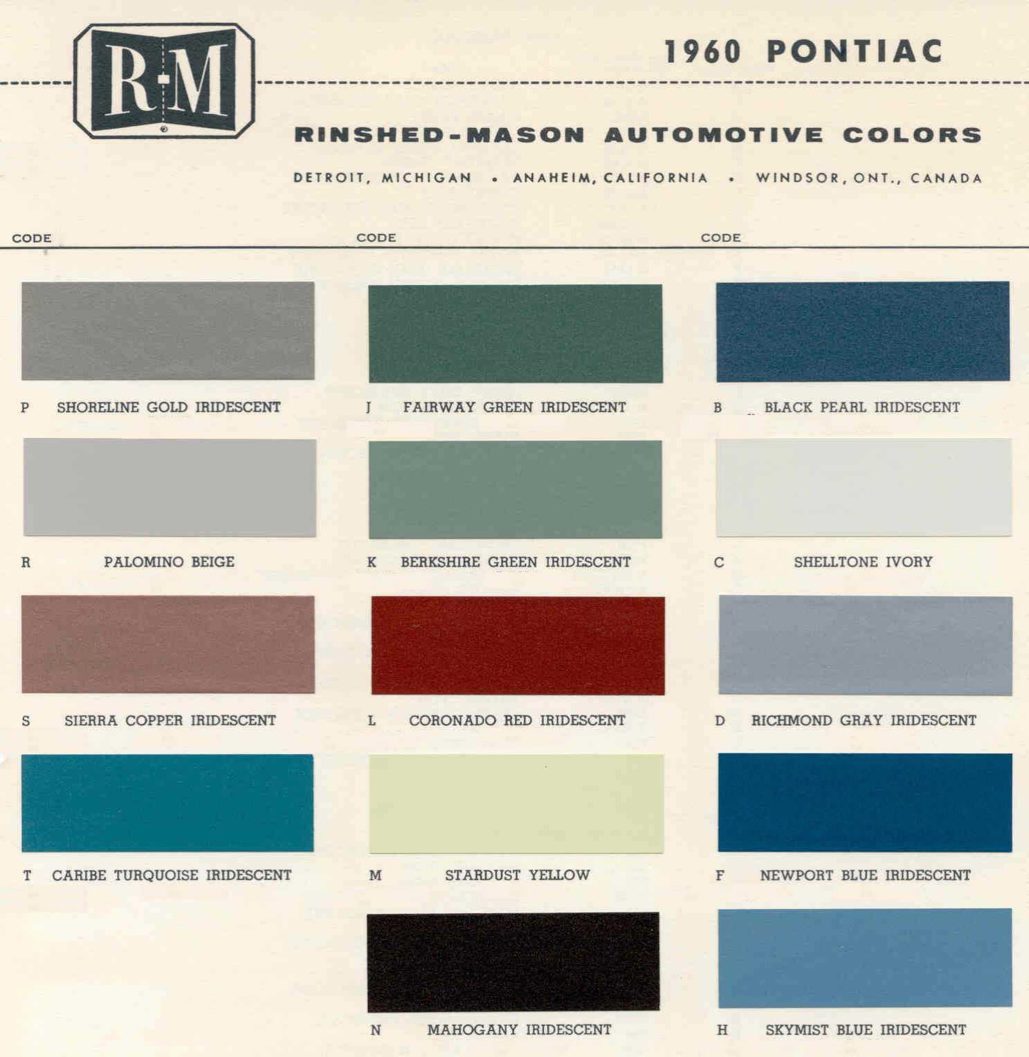 Color Code and Paint Color Chart for Pontiac in 1960
