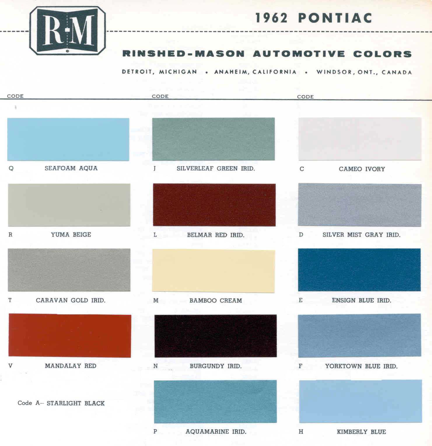 Color Code and Paint Color Chart for Pontiac in 1961