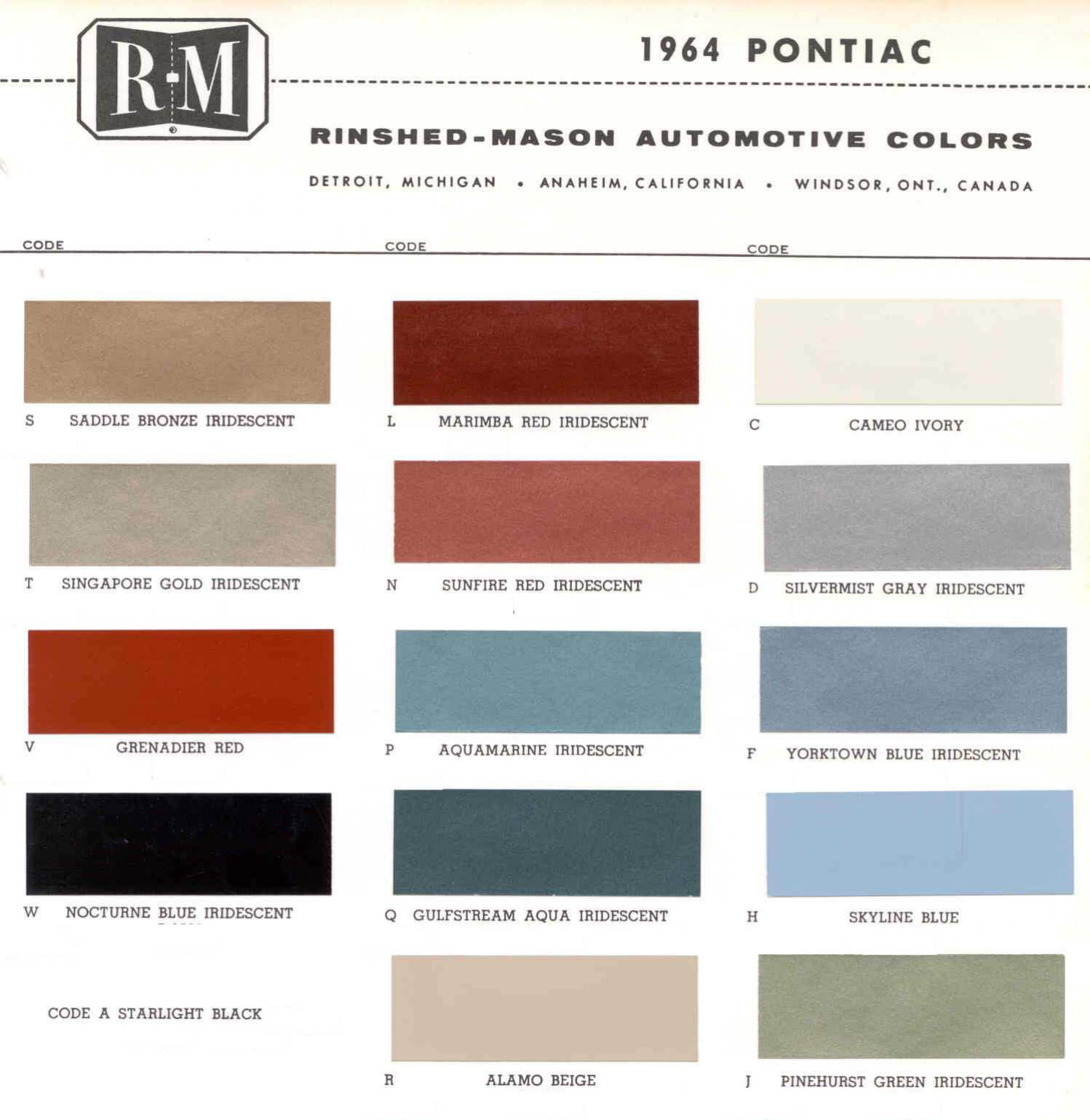 Color Code and Paint Color Chart for Pontiac in 1964