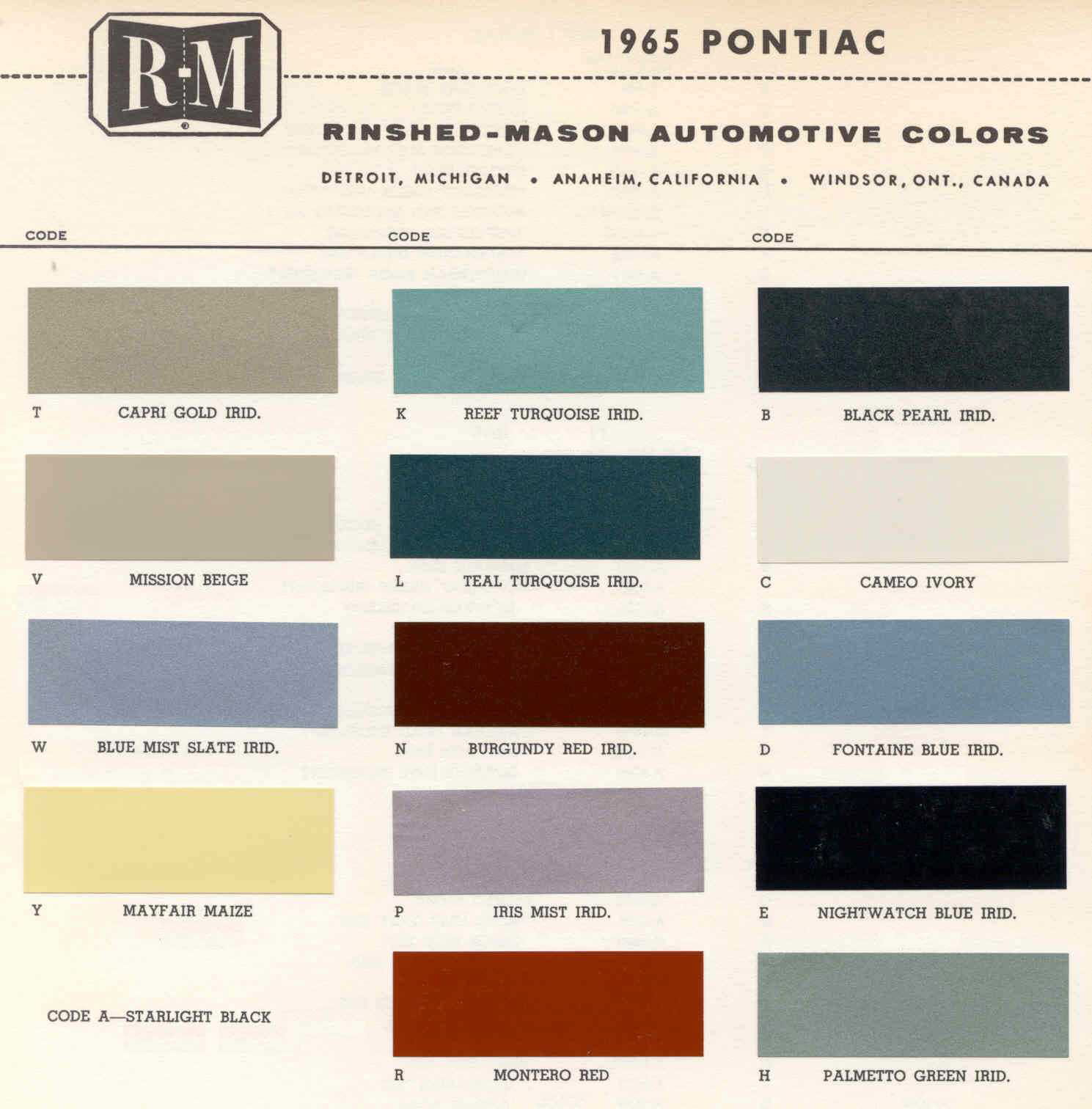 Color Code and Paint Color Chart for Pontiac in 1965
