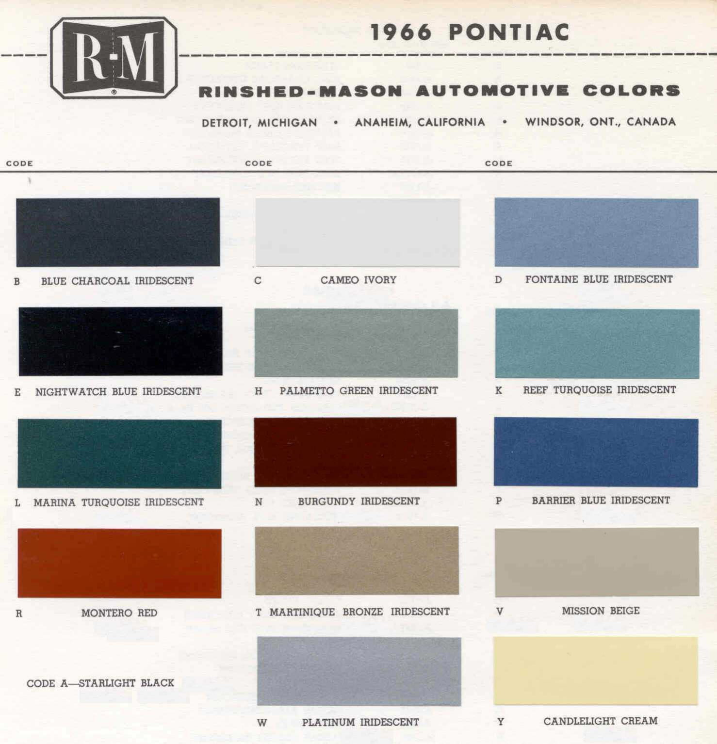 Color Code and Paint Color Chart for Pontiac in 1966